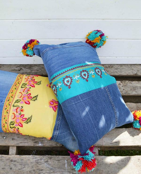 Boho Jean Pillows via Pillar Box Blue