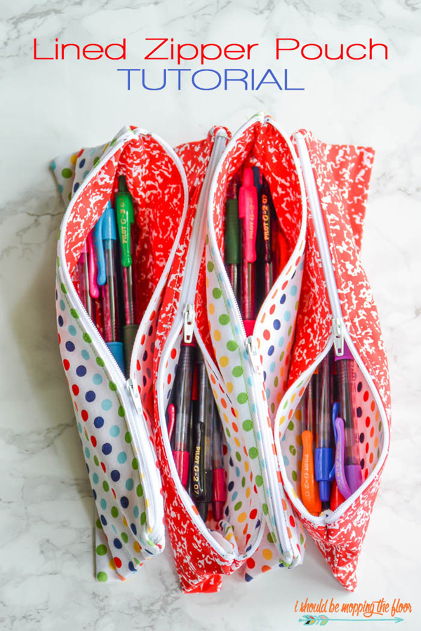 Show and Tell Party | Lined Zipper Pouch Tutorial via I Should Be Mopping the Floor
