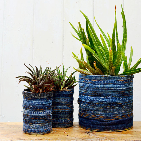 Recycled Jean Planter via Pillar Box Blue