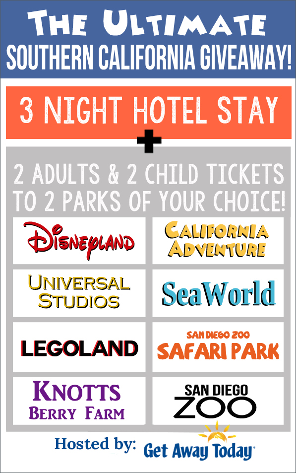Disneyland Giveaway!! Enter to win 3 night hotel stay and 4 tickets to Disneyland or another Theme park of your choice!