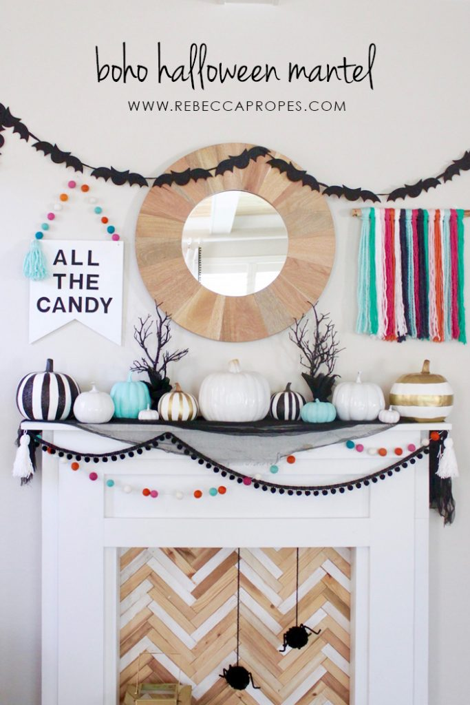 Boho Halloween Mantel-DIY Halloween Decorations