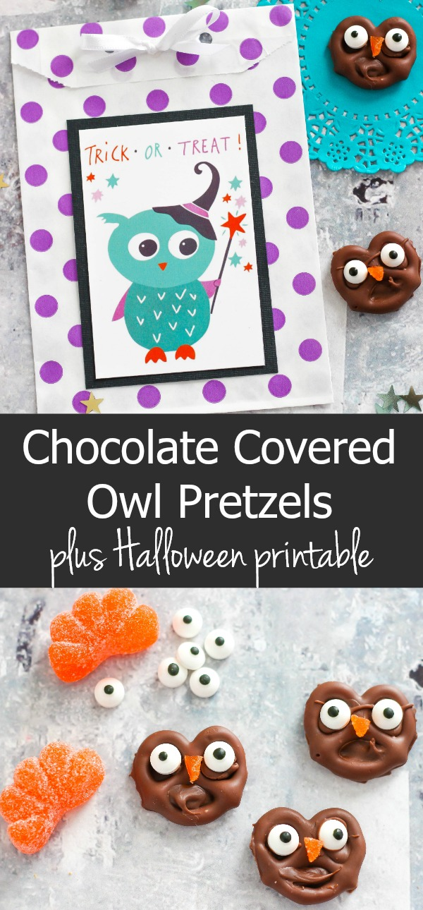 Chocolate Covered Owl Pretzels with Halloween Printables
