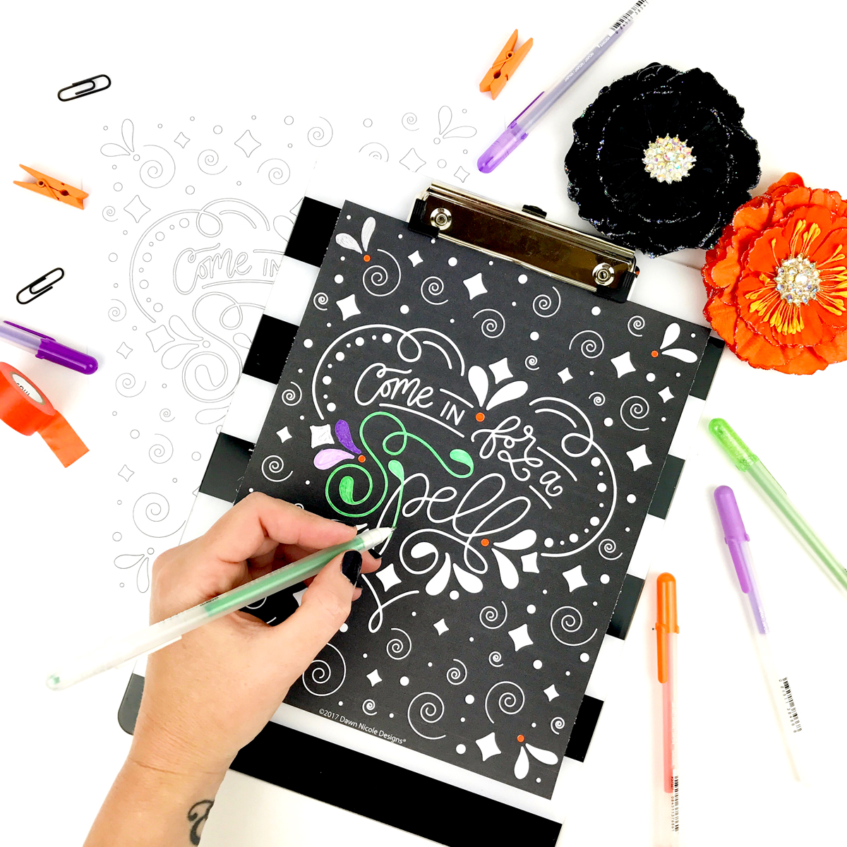 Come In For a Spell Coloring Page - Free Halloween Coloring Page