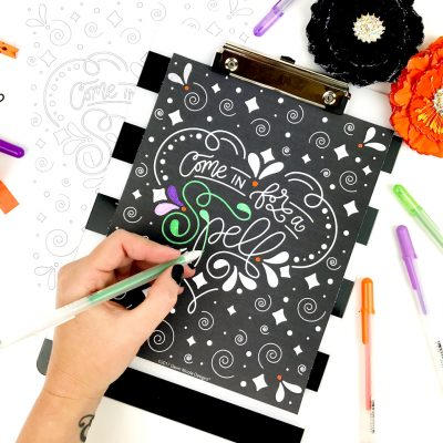 Chalkboard Style Free Halloween Coloring Page