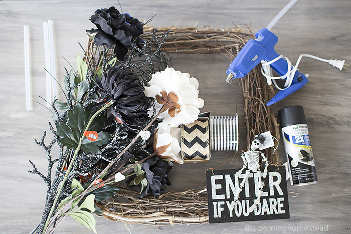 Supplies to Make a Fun Halloween Wreath