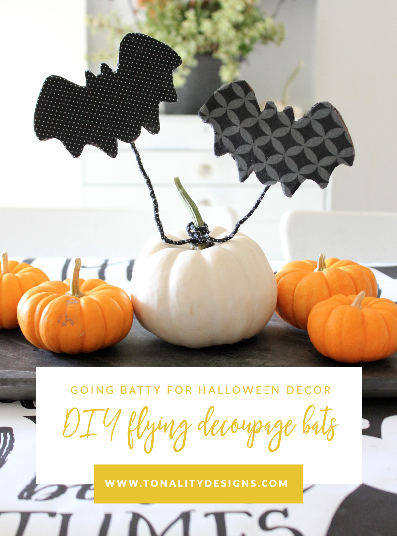 DIY Flying Decoupage Bats - DIY Halloween Decor