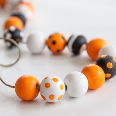 DIY Halloween Wood Bead Garland