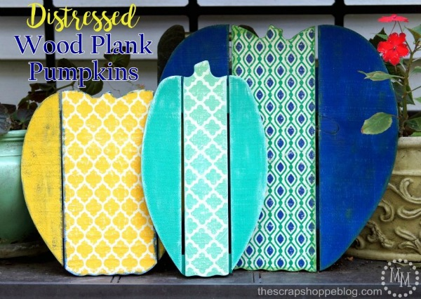 Distressed Wood Plank Pumpkins via The Scrap Shoppe Blog