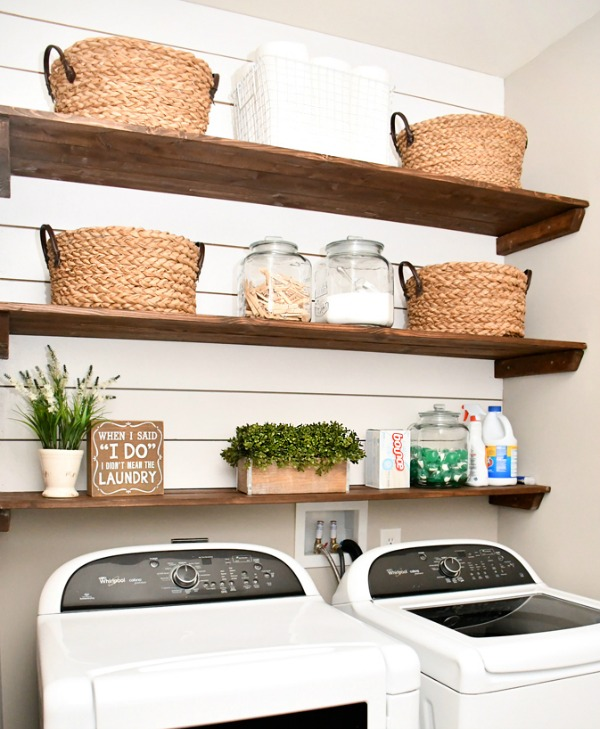 Laundry Room Shiplap Shelving via How to Nest for Less