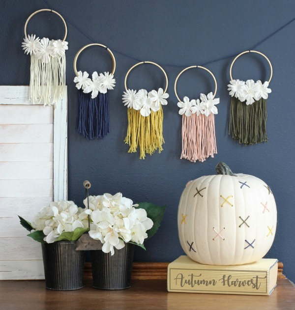 Mini Hoop Banner & Cross-Stitch Pumpkin via The Craft Patch