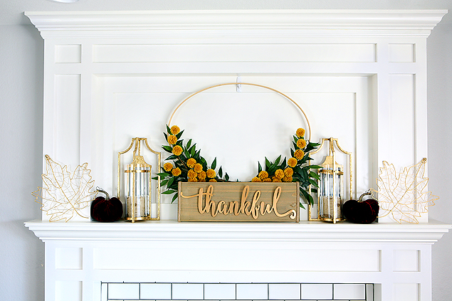 Pretty Fall Mantel with DIY Hoop Wreath