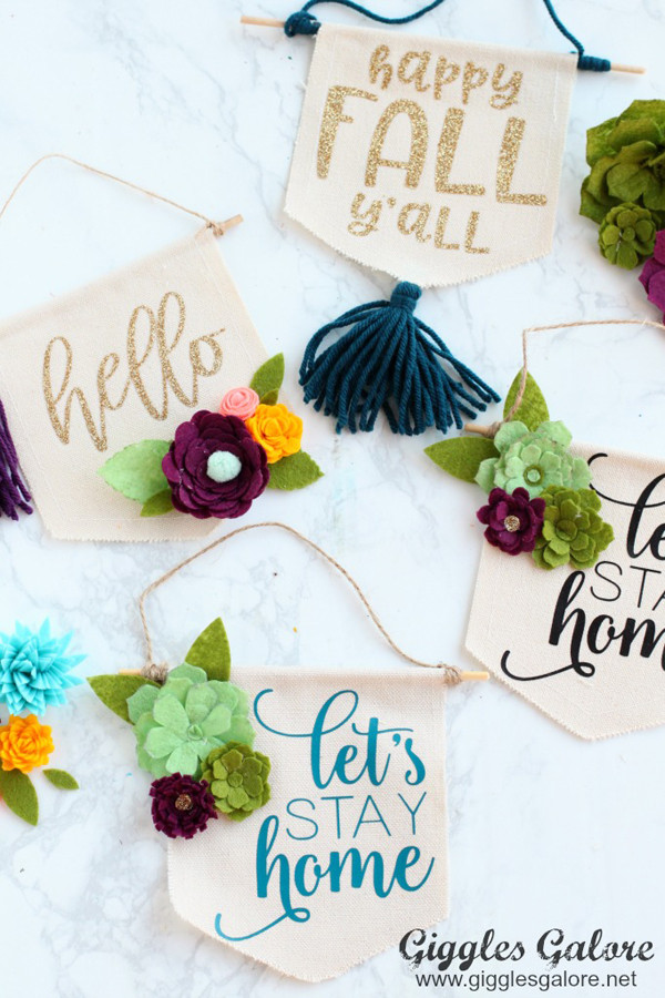 DIY Mini Canvas Banner via Giggles Galore