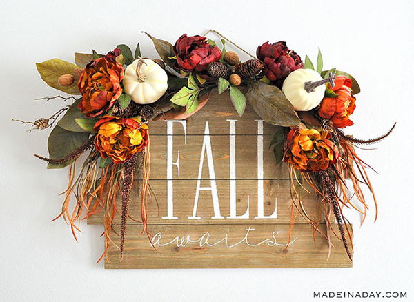 Fall Awaits Hand Painted Sign via Made in a Day