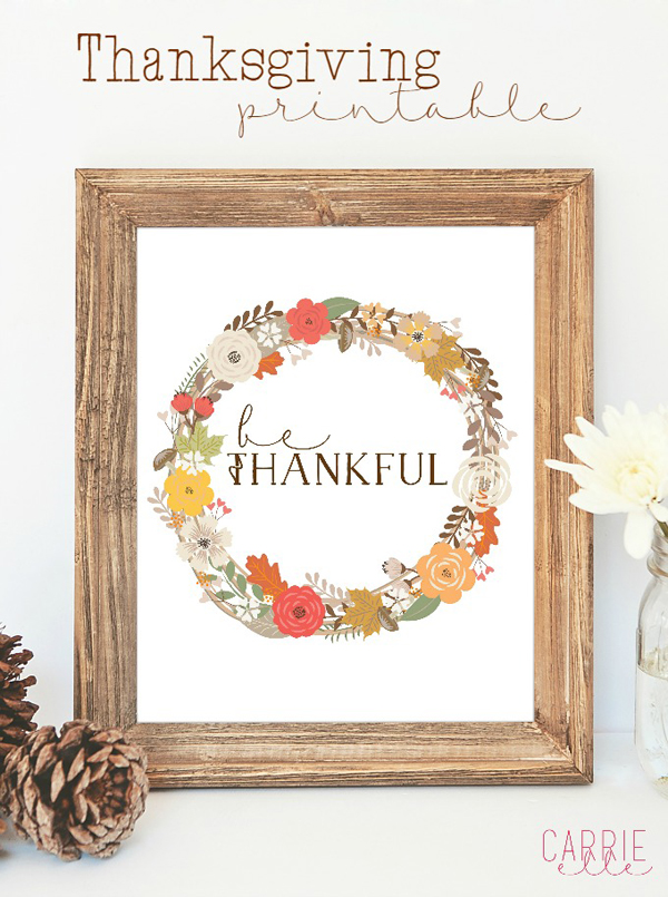 Free Thanksgiving Printable via Carrie Elle
