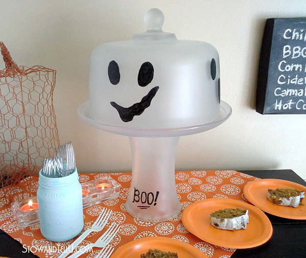Frosted Glass Ghost Cake Plate Stand via Stow & Tell U