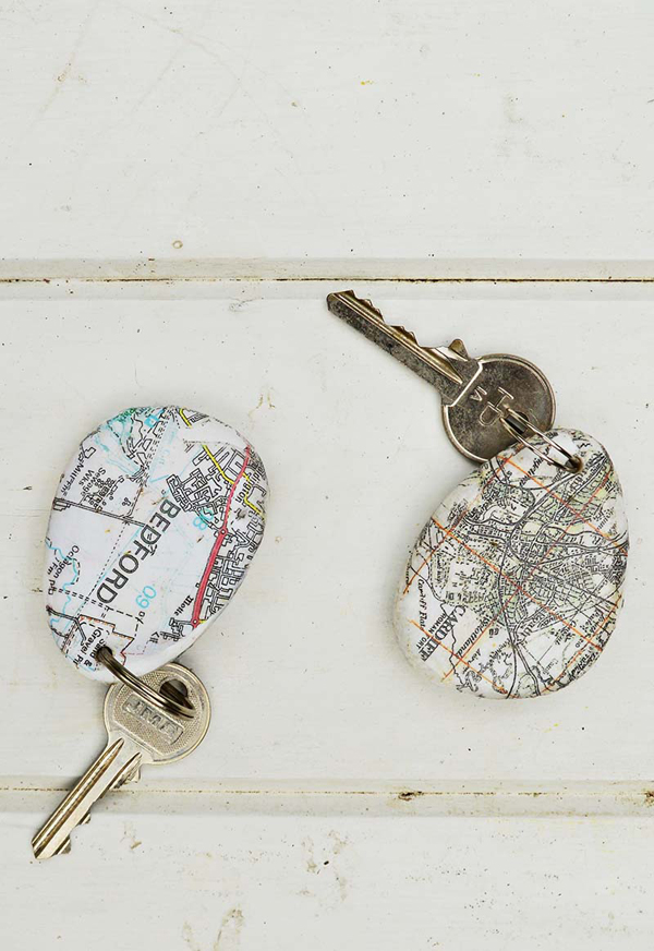 Map Rock Keychain via Pillar Box Blue