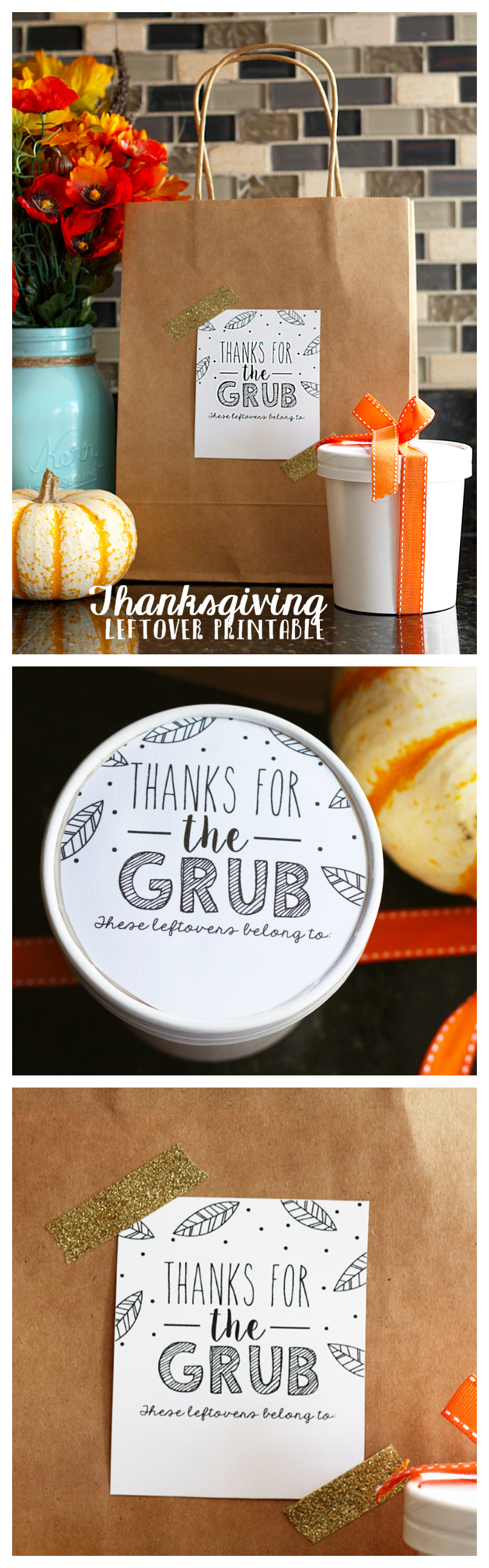 Thanksgiving Leftover Take Home Containers | Includes the free printable tag