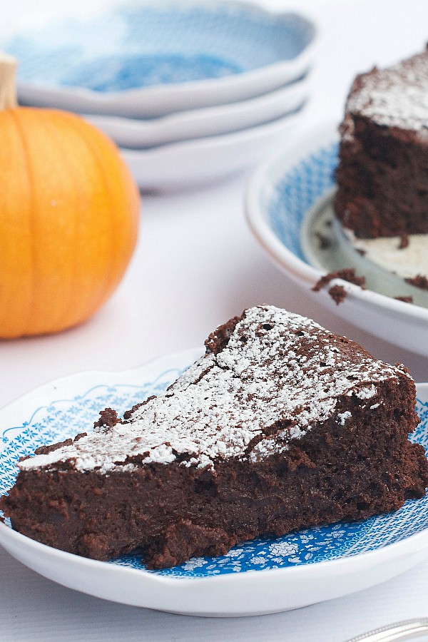 Pumpkin Spice Flourless Chocolate Cake from The Reluctant Entertainer