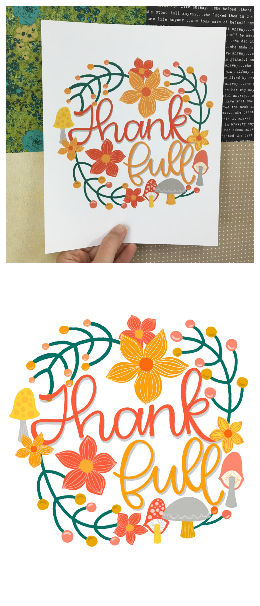 Pretty Thank Full print | Fun print for Thanksgiving or year round!