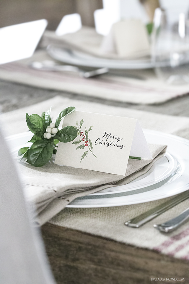 Planning the Perfect Christmas Brunch | Simple Rustic Christmas Tablescape with Printable Placecards from Live Laugh Rowe
