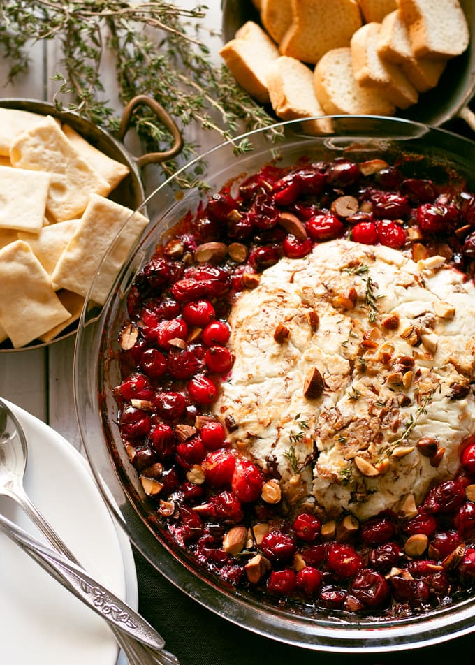 Planning the Perfect Christmas Brunch | Baked Goat Cheese Roasted Cranberry Appetizer from Honey and Birch