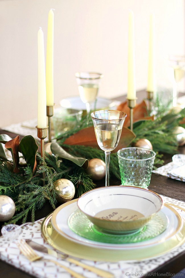 Planning the Perfect Christmas Brunch | Green & Gold Christmas Table from Celebrations at Home