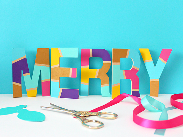 DIY Colorful Painted Merry Letters via White House Crafts