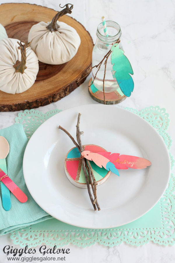Colorful Painted Feather Thanksgiving Place Cards via Giggles Galore