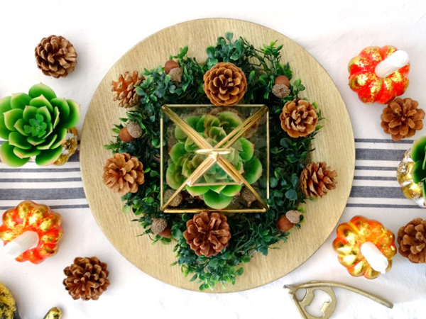 Thanksgiving Succulent Centerpiece Tablescape via Living La Vida Holoka