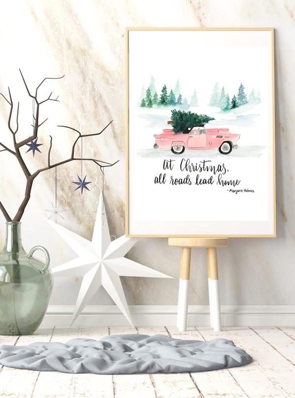 Millennial Pink Vintage Car & Christmas Tree Print via Tinselbox
