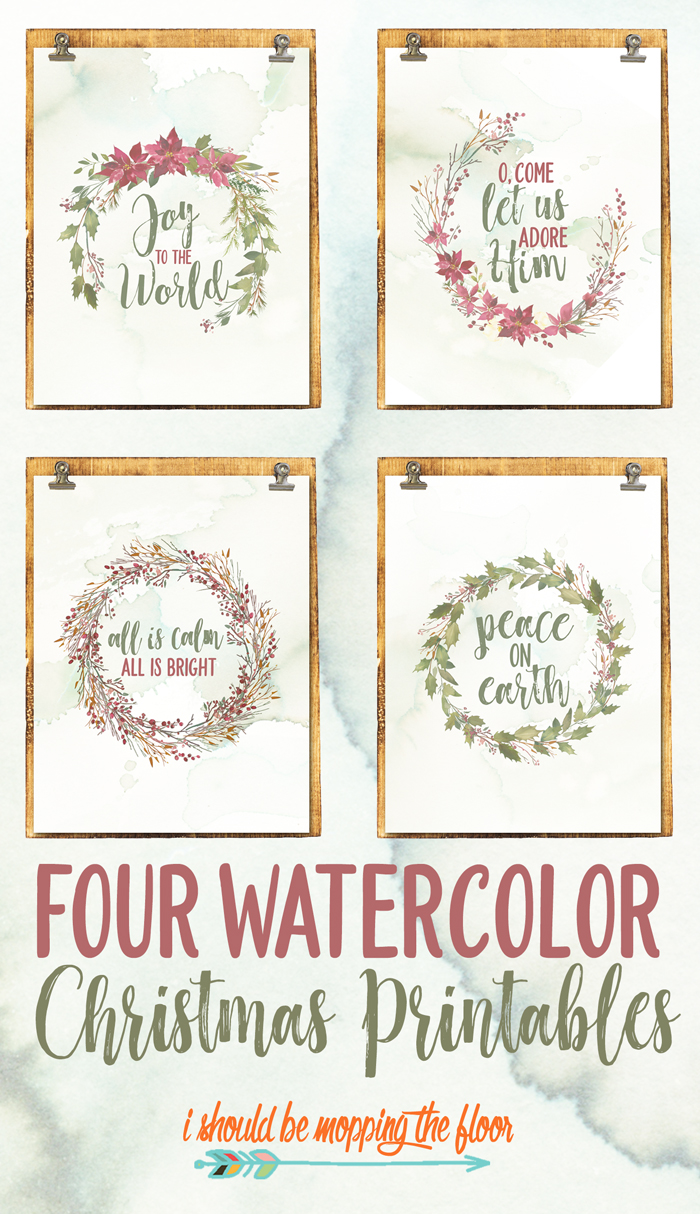 Watercolor Christmas Printables via I Should Be Mopping the Floor