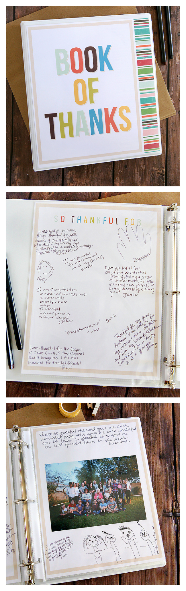 Book of Thanks | A Thanksgiving Tradition, Have everyone write what they are thankful and add a picture each year!
