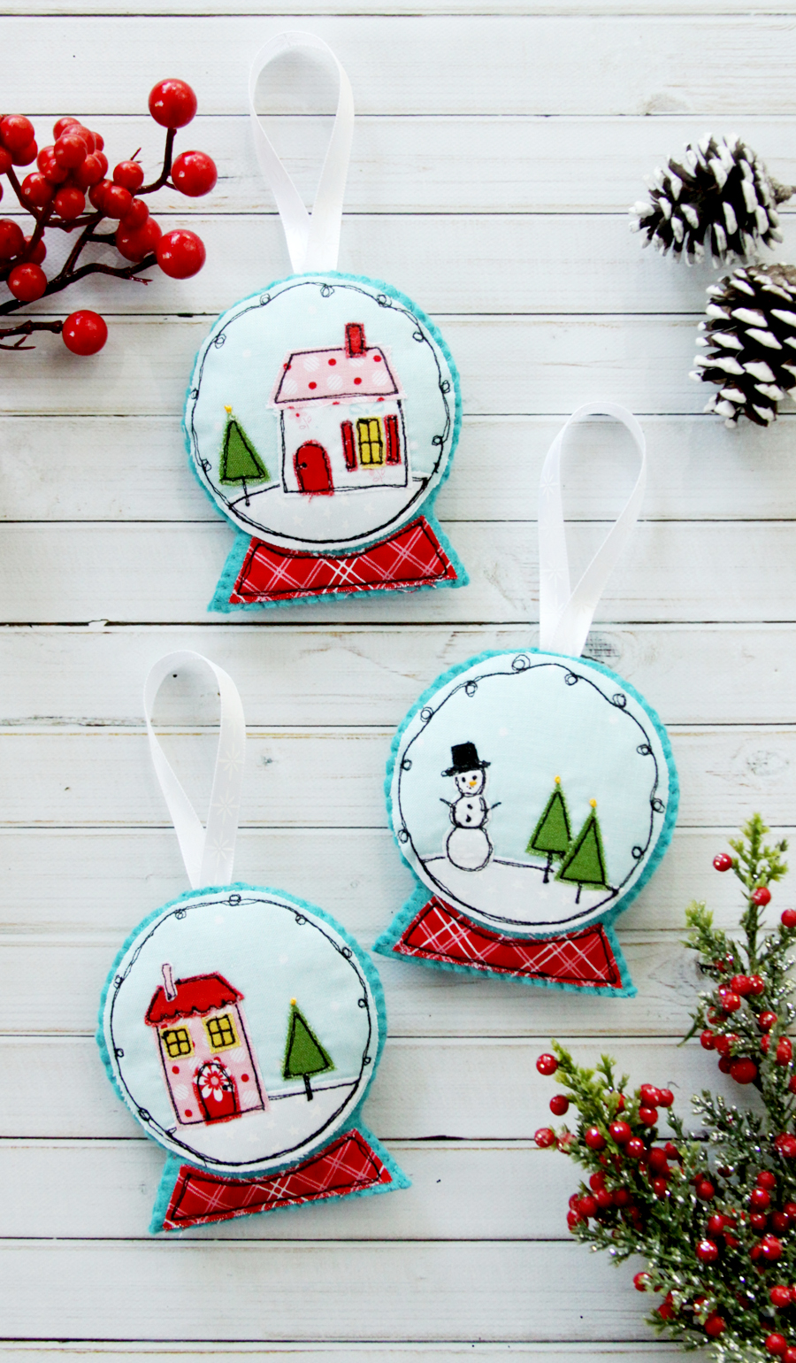Show and Tell Link Party | Fabric & Felt Snowglobe Ornaments via Flamingo Toes