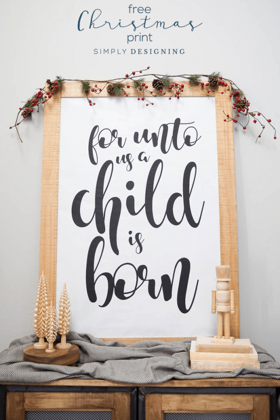 Show and Tell Link Party | For Unto Us a Child is Born Free Christmas Print via Simply Designing
