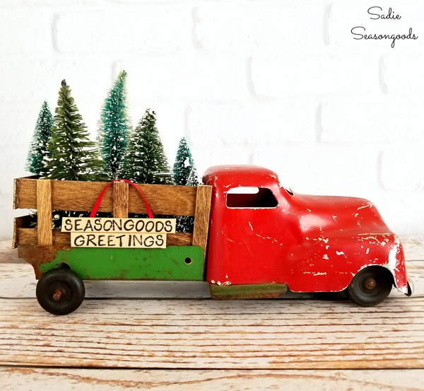 DIY Vintage Christmas Tree Delivery Truck via Sadie Seasongoods