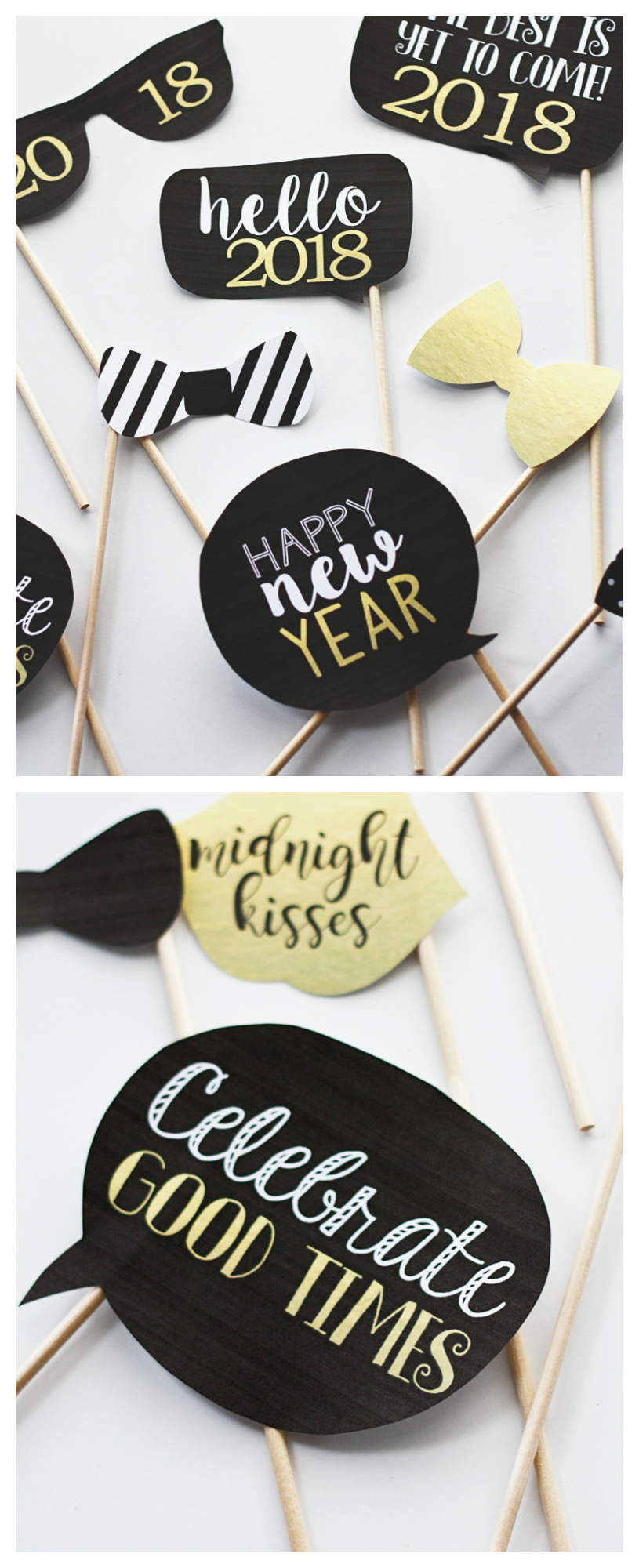 Free Printable New Years Eve Photobooth Props