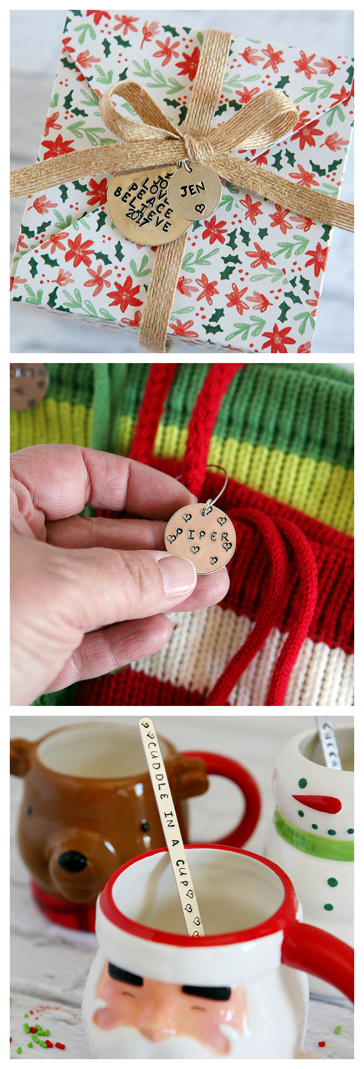 Stamped Metal Gift Tags - DIY Metal Gift Tags - Hot Cocoa Stir Sticks - Stocking Charms