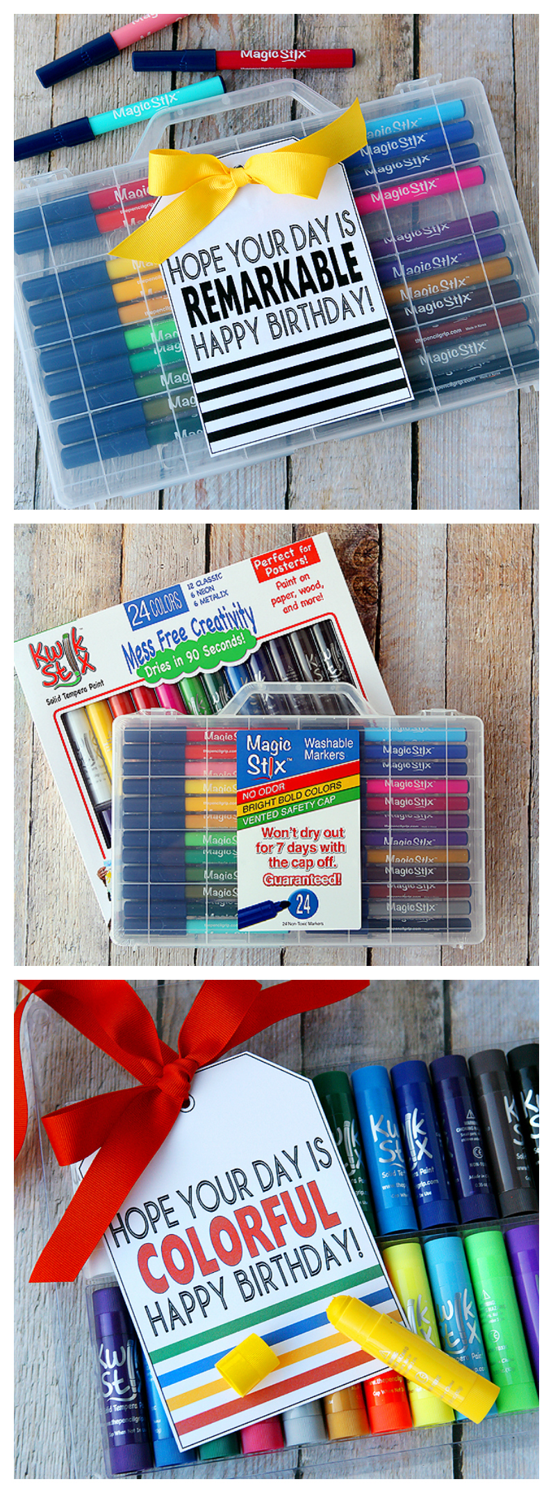 Birthday Ideas with Kwik Stix and Magic Stix | Free printable birthday tags