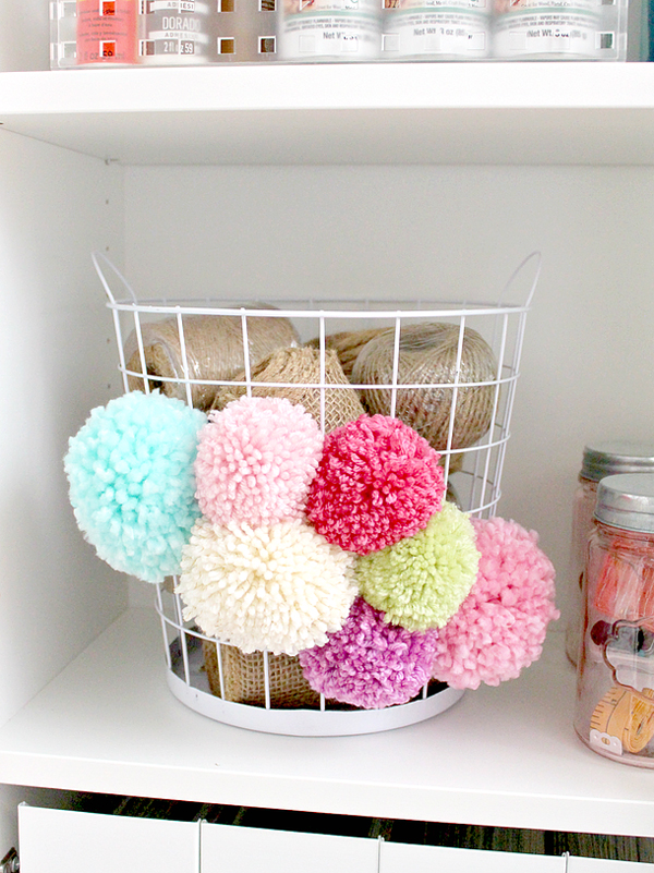 Wire Basket Update with Pom Poms via White House Crafts