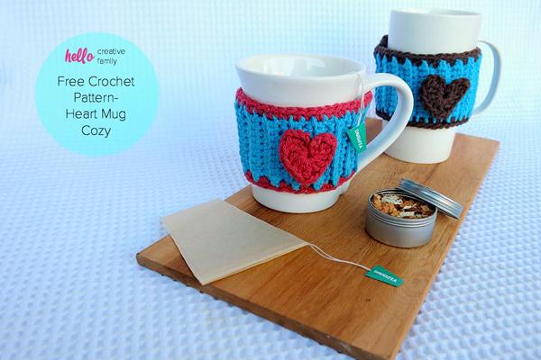 Crochet Heart Mug Cozy Pattern via Hello Creative Family