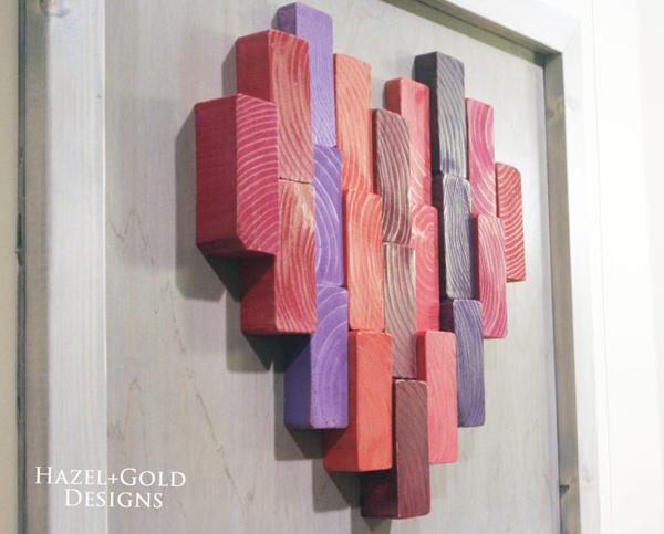 Wooden Heart Decor via Hazel + Gold Designs