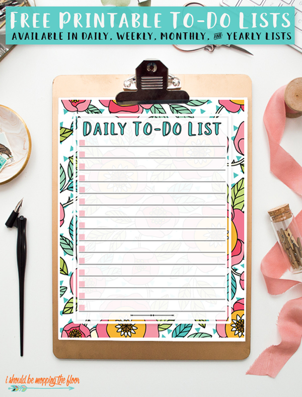 To-Do List Printable via I Should Be Mopping The Floor