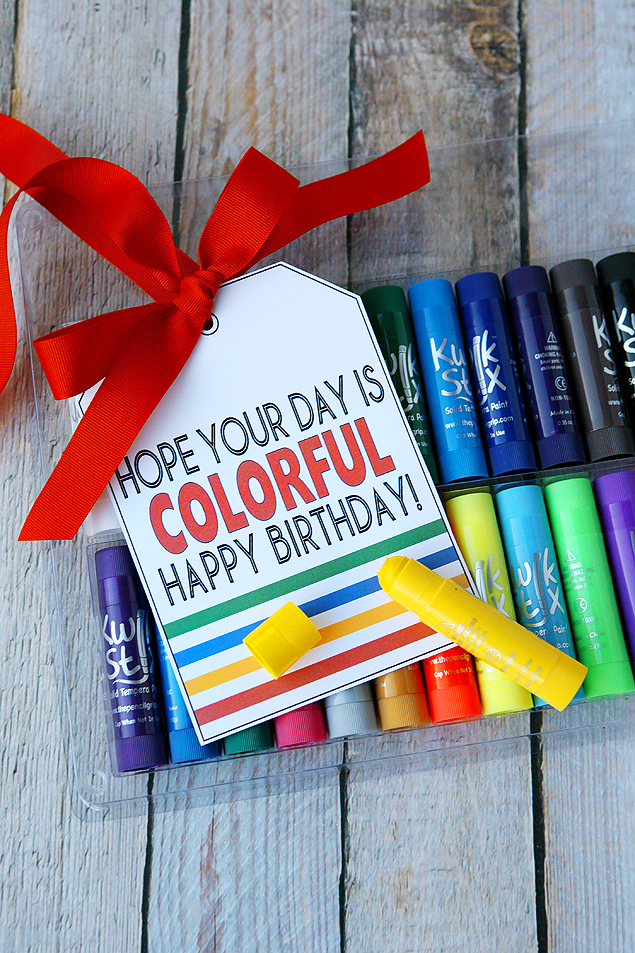 Hope Your Day is COLORFUL. Happy Birthday! Free printable birthday tags.