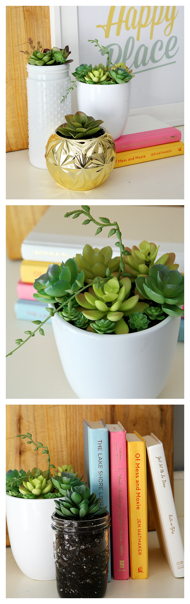 Adorable Thrifted Spring Succulent Arrangement | Put together using items from the thrift store!