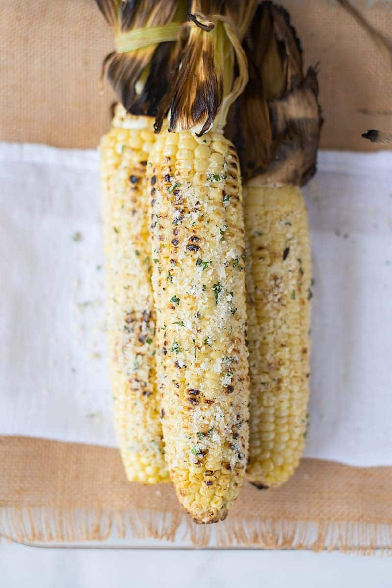 Grilled Parmesan Garlic and Basil Corn on the Cob | Culinary Ginger