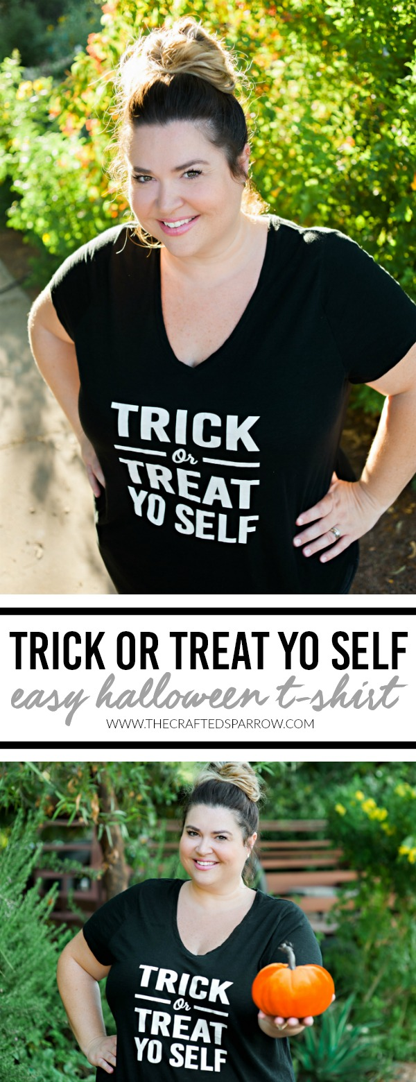 Trick or Treat Yo Self Halloween Shirt | Easy DIY Halloween Shirt