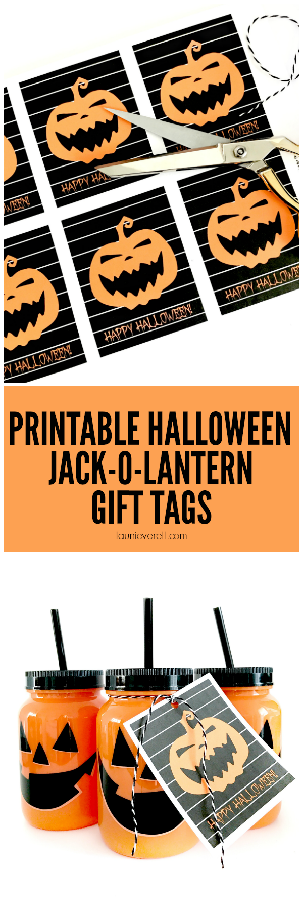picture relating to Printable Halloween Gift Tags identified as Jack-O-Lantern Halloween Printable Reward Tag - 1825