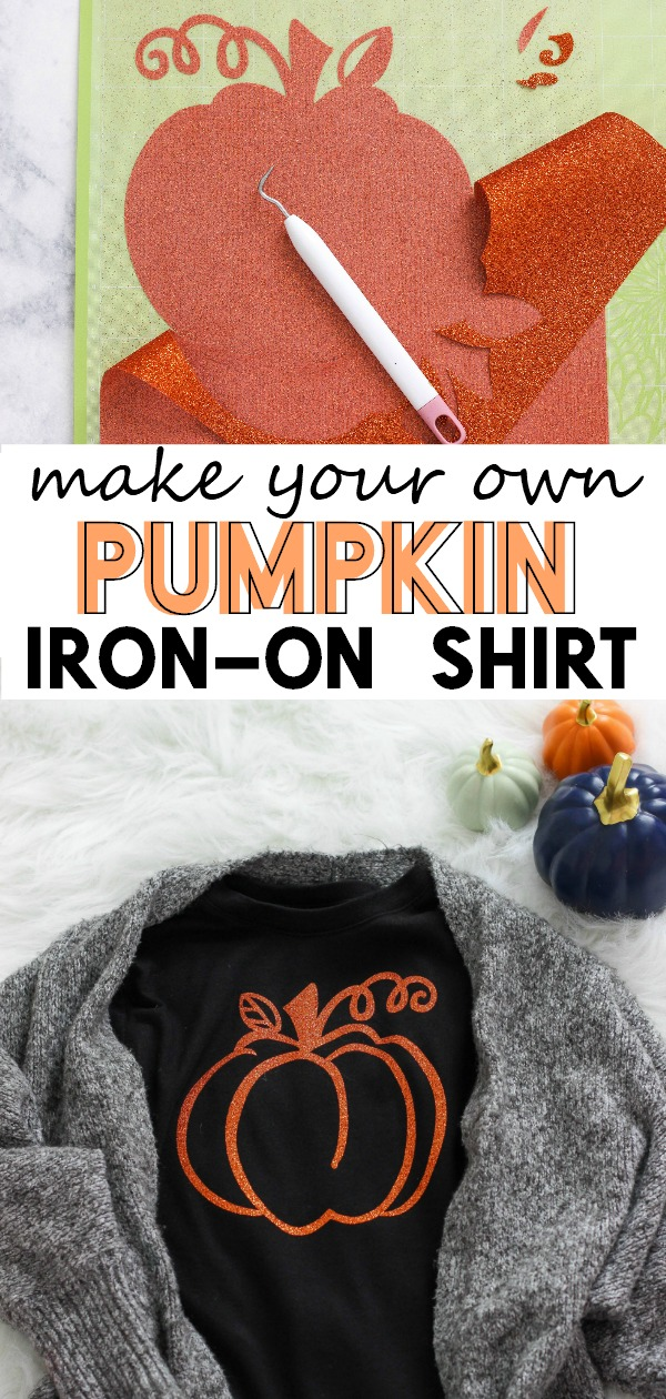 Make Your Own Pumpkin Iron-On Shirt for Halloween. So easy and fun to make!