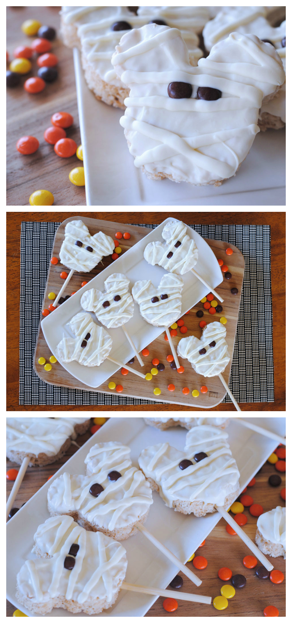 Mummy Mickey Mouse Rice Krispies Treats! Such a fun Halloween Disney Treat you can make right at home!