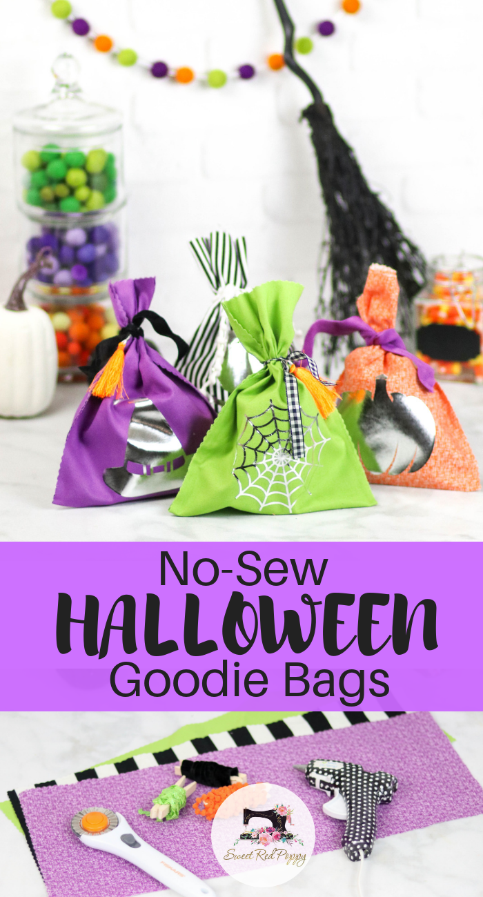 No Sew Halloween Goodie Bags | Fun Halloween Craft and then fill them up and surprise someone with a treat!